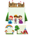 paper template with kids in different background vector image vector image