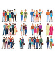 people groups and couples collection diverse vector image vector image