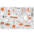 pizza doodle set vector image vector image