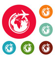 plane on earth icons circle set vector image