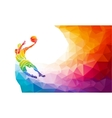 Polygonal geometric basketball player jump shot vector image