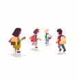 rear view school children group with backpacks vector image vector image