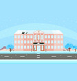 school building facade in winter time vector image