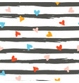 seamless pattern with colourful hearts on stripes vector image vector image