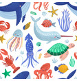 seamless pattern with cute happy marine animals vector image vector image
