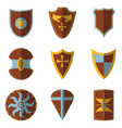 set of medieval shield and weapon icon and label vector image vector image
