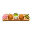 sign with mooncakes for mid autumn festival vector image vector image