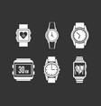 smartwatch icon set grey vector image