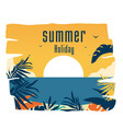 summer holiday sunset jungle leaves background vec vector image vector image