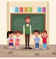 teacher with kids in classroom vector image