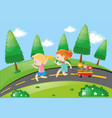two girls pulling wagon on the road vector image