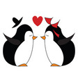 two penguins about to kiss each other are in deep vector image