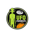 ufo area icon alien and saucer with space planets vector image