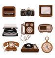 vintage technologies set retro radio photo vector image vector image