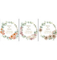 wedding wreath set watercolor roses vintage vector image vector image