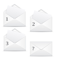 White envelopes with 3 options and question vector image