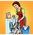 woman washes clothes washing machine vector image vector image