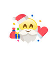 yellow santa claus icon with glove christmas hat vector image vector image