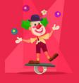 happy smiling clown character juggling bike vector image