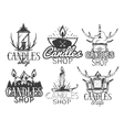 set of candle shop labels Isolated logos vector image
