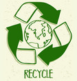 a recycle icon on white background vector image vector image