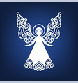 beautiful angel with ornamental wings and halo vector image