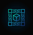 block chain technology blue concept icon on dark vector image vector image
