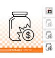 broken bank simple black line icon vector image