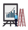 businessman with presentation board chart and vector image