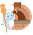 cartoon baker elephant vector image vector image
