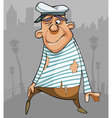 cartoon funny male sailor in ragged clothes vector image vector image