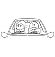 cartoon happy smiling couple woman and man vector image