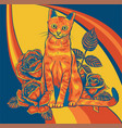 cat and roses on colored background vector image
