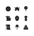 chinese traditions black glyph icons set on white vector image vector image