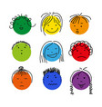 colorful cartoon doodle face set isolated vector image