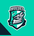 colorful emblem of the howling wolf logo badge vector image