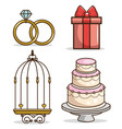 colorful wedding icon set vector image