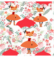 cute cartoon fox lady in spring flower seamless vector image vector image
