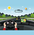 driving car with hills on background automobile vector image vector image