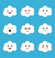flat design cartoon cute cloud character vector image