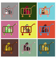 flat icons set shop cart vector image