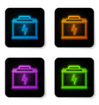 glowing neon car battery icon isolated on white vector image vector image