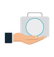 hand man holding kit first aid veterinarian vector image