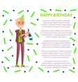 happy birthday greetings man in suit festive cap vector image vector image