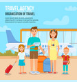 happy family with children travelling with luggage vector image vector image
