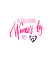 happy women day lettering icon creative pink vector image vector image