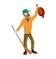 hunter shooting a duck icon cartoon style vector image vector image