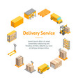 logistic delivery service banner card circle vector image