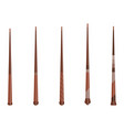 magic wands set wizard tool wooden stick vector image vector image