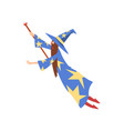 male sorcerer conjuring bearded wizard character vector image vector image